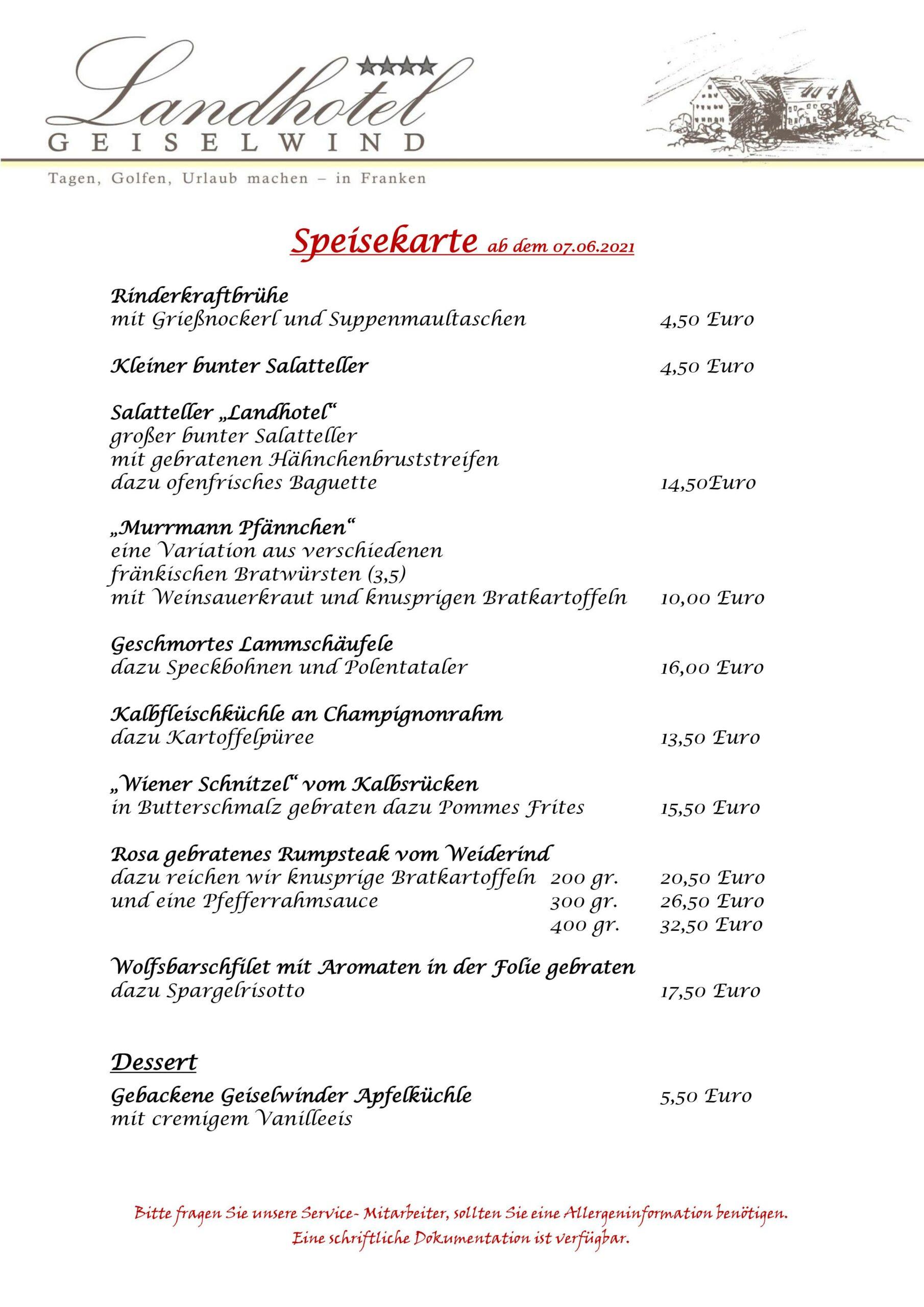 Speisekarte Landhotel Geiselwind