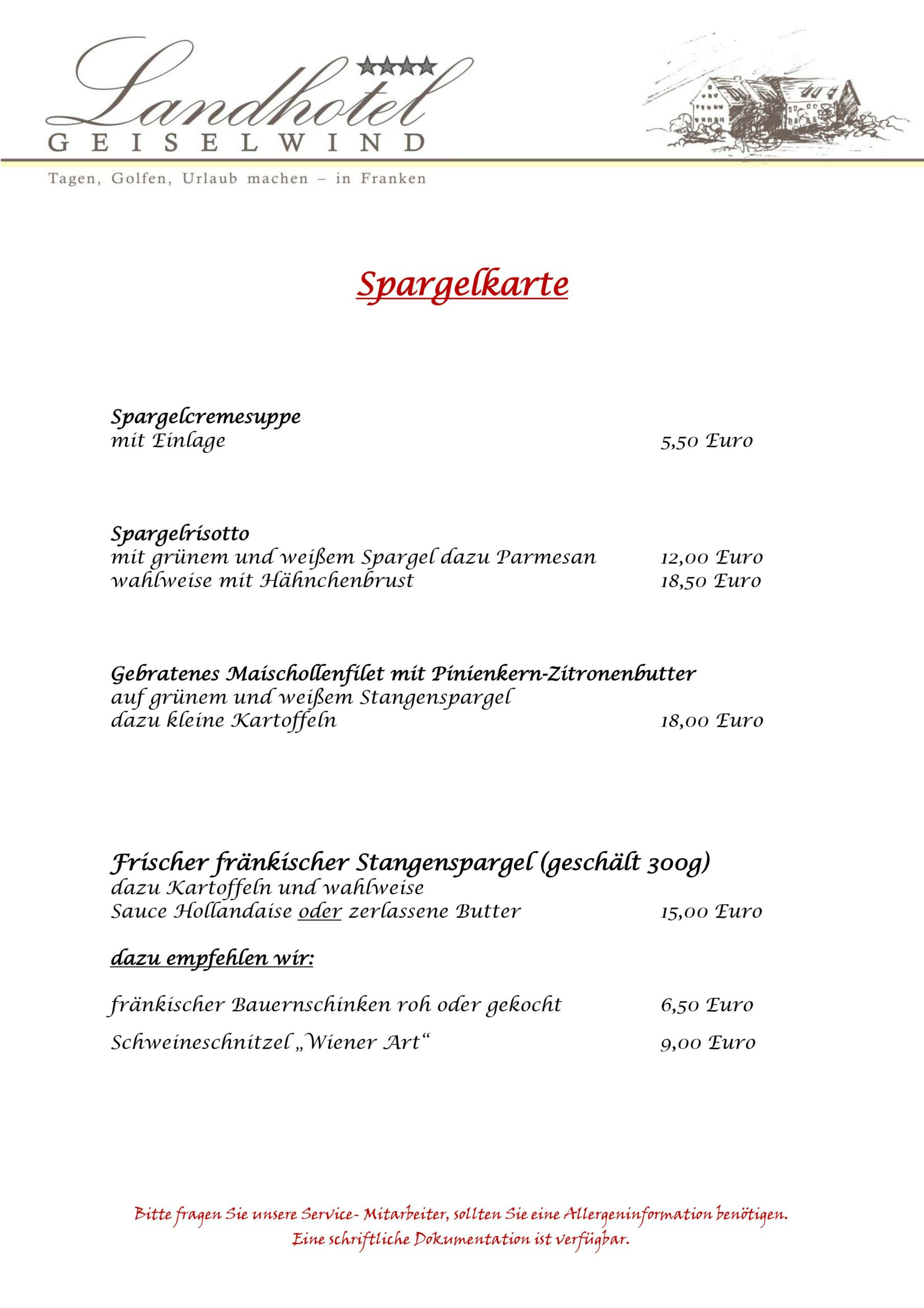 Spargelkarte Landhotel Geiselwind